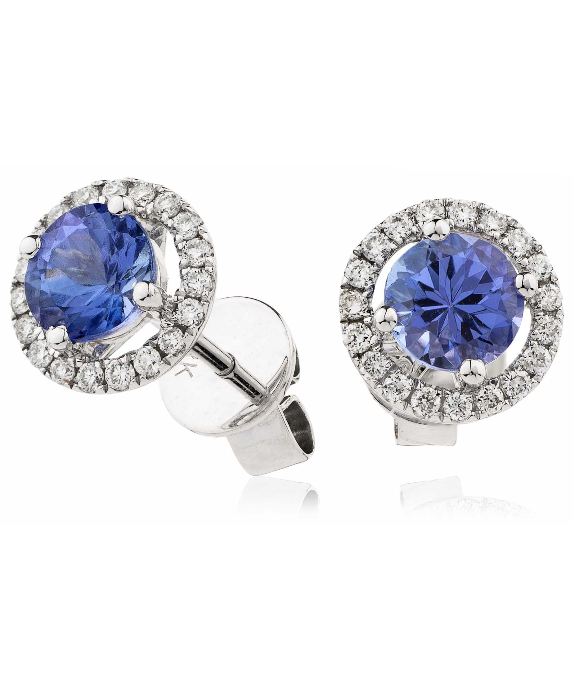 tanzanite earrings carat diamond and gold white